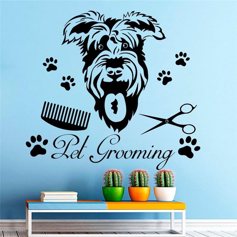 Домашнее животное собака Груминг художественные узорные настенные фрески домашний декор для гостиной настенные Стикеры для домашних живо...