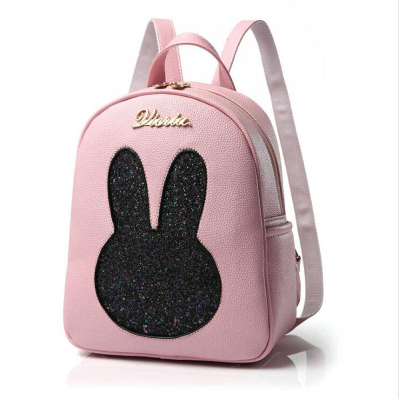 Lodogsow Cute Bling Rabbit Cartoon Women Backpacks Pink Pu Leather Schoolbag For Teenage Girls Casual Travel Kawaii Zipper Bags fabra women cute cartoon pu leather