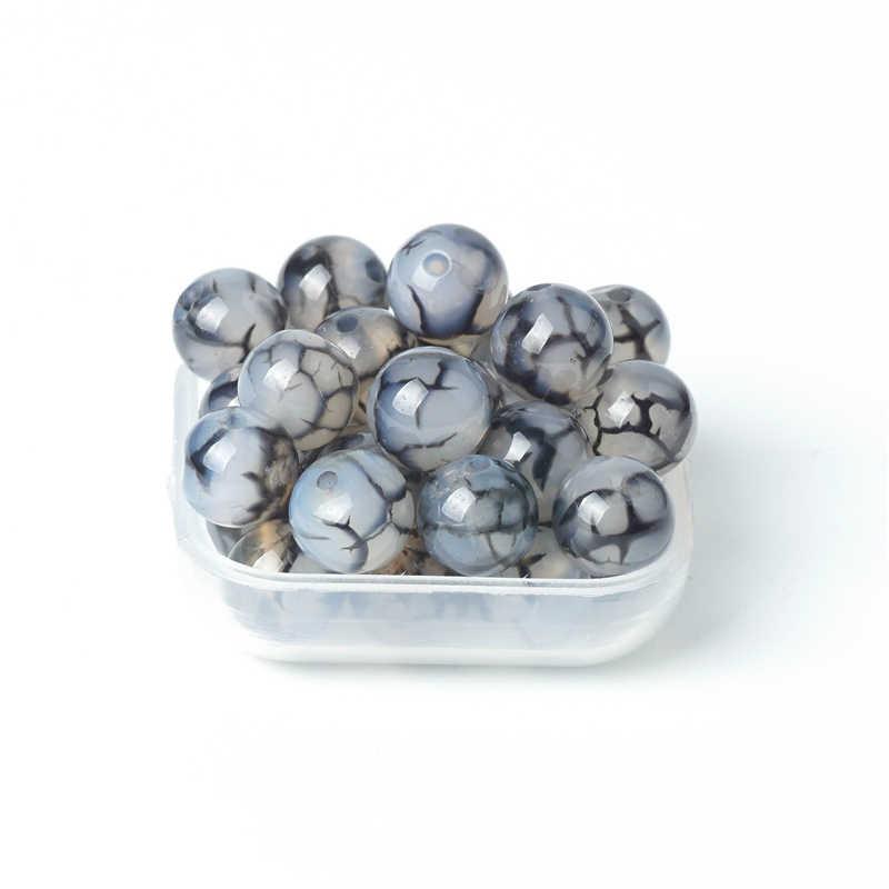 Cuentas de piedras preciosas naturales, cuentas de ágata gris, abalorios sueltos, vetas de turquesa negra, 8mm, piedra Onxy para la fabricación de joyería de las mujeres