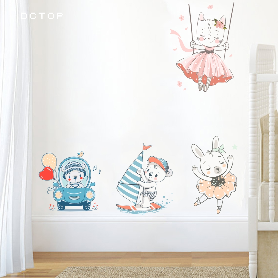 Cartoon Boat Car Bear Pink Rabbit Girl Wall Art Sticker Nordic Posters And Prints Laptop Door Switch Wall Decals For Kids Rooms