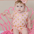 Polka Gold Dots Baby Girl Romper Cotton Baby Rompers+Girls Headbands Newborn Baby Girl Clothing Toddler Clothes Infant Jumpsuits