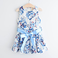 new arrival dress for girl sashes casual style girls dress print summer vest dress infantil fashion robe fille