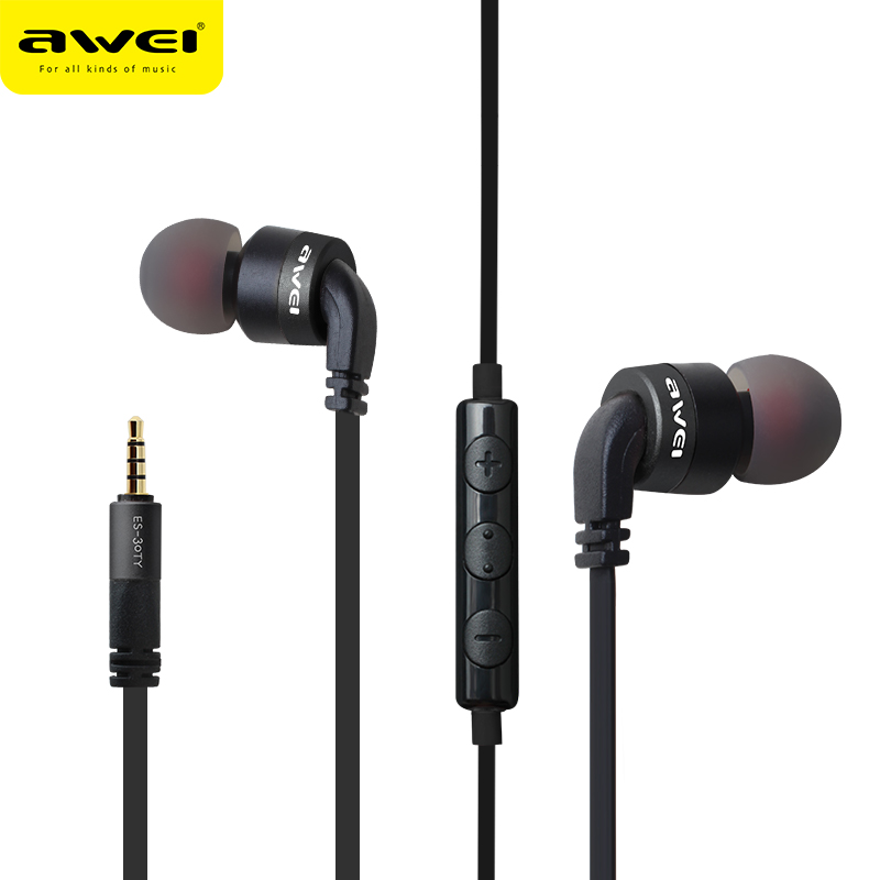 Awei ES-30TY Full Metal Earphones Stereo Super Bass Headset  For Phone With Mic Fone de ouvido Auriculares