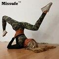 Missufe gimnasio camuflaje impreso pantalones de chándal 2 unidades tops cortos + largo bodycon sexy conjunto de las mujeres ocasionales