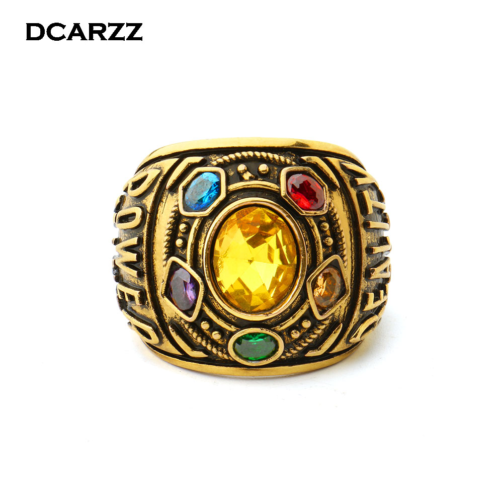 Infinity Gauntlet Power Ring Avengers:Infinity War Thanos Jewelry Handstamped Letter Ring with Crystals for Men Drop Shipping
