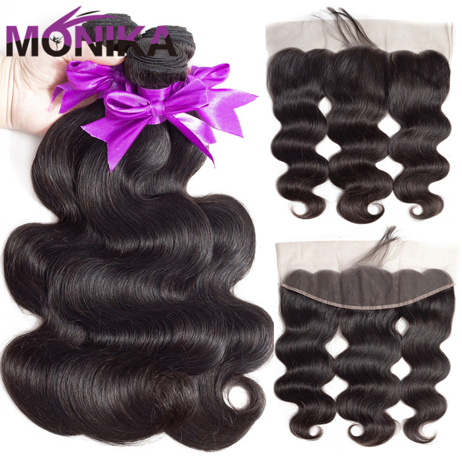 MonikaHair Body Wave Bundles With Frontal Human Hair 3 Bundles with Frontal Brazilian Body Wave with