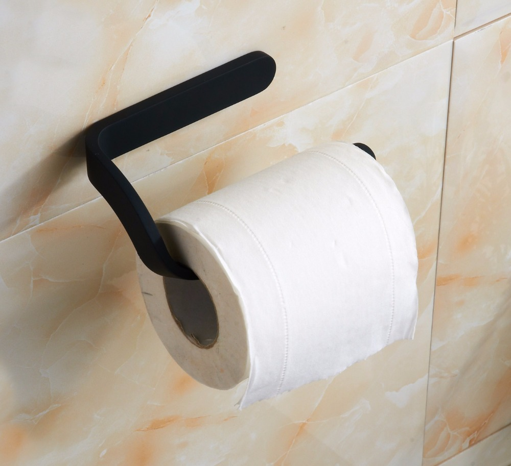 Image 4 - Preto suporte de papel higiênico cromo rolo suporte de papel  higiênico acessórios do banheiro fixado na paredePorta-papel   -