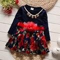 Bebé Estilo de Europa y Estados Unidos 2017 Nueva Primavera Bebé puff dress fashion dress infantil hasta la gente hilado neto dress