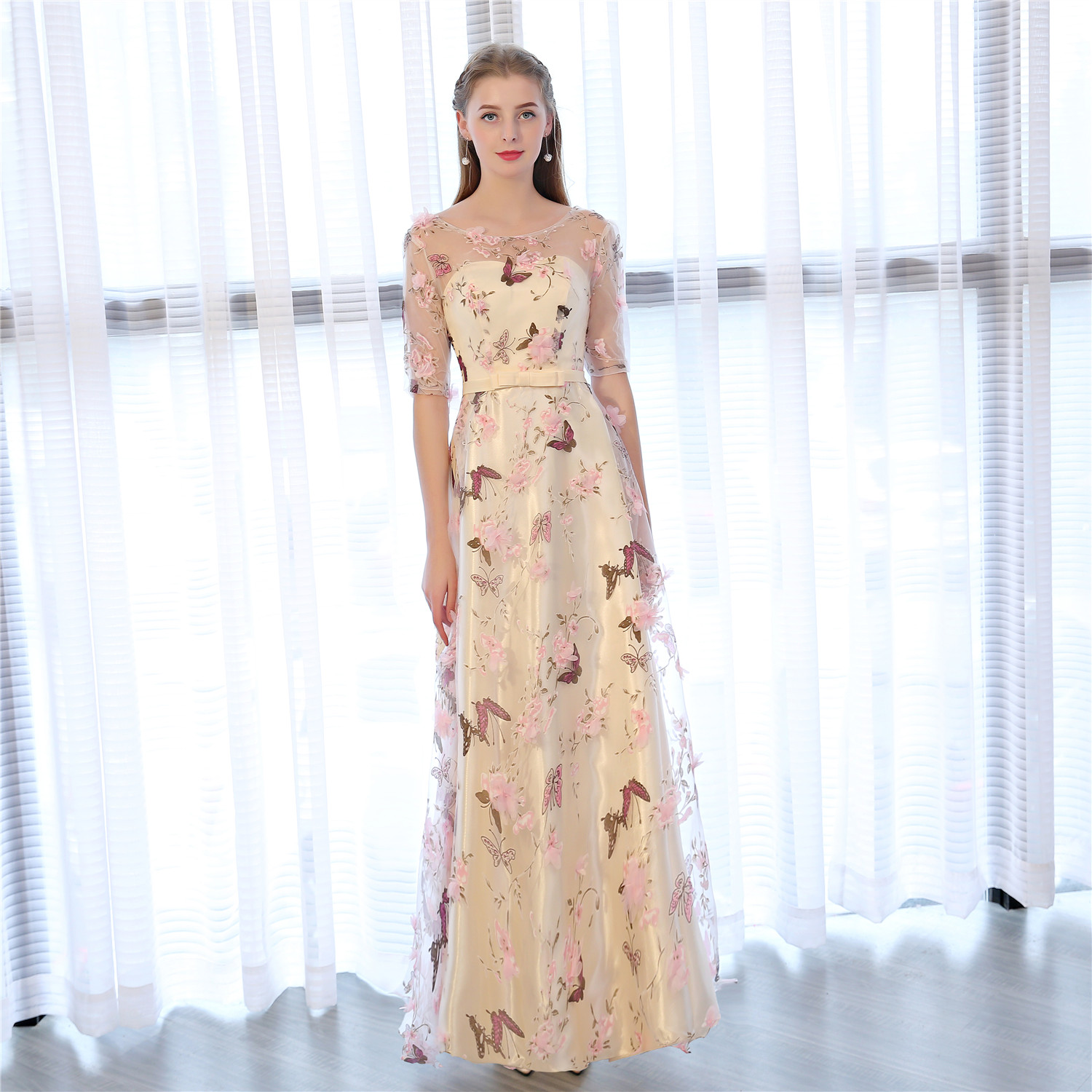 c00c6001ddc TS Couture Embroidered A Line O Neck Ankle Length Tulle Satin Chiffon Formal  Evening Dress with Flowers Prom Dress Prom Gowns on Aliexpress.com