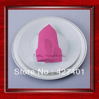 High Quality 45x45cm Neon Pink Polyester Plain Napkin / Table Napkin / Hotel Napkin / Dinner Napkin  (Factory Direct Sale)