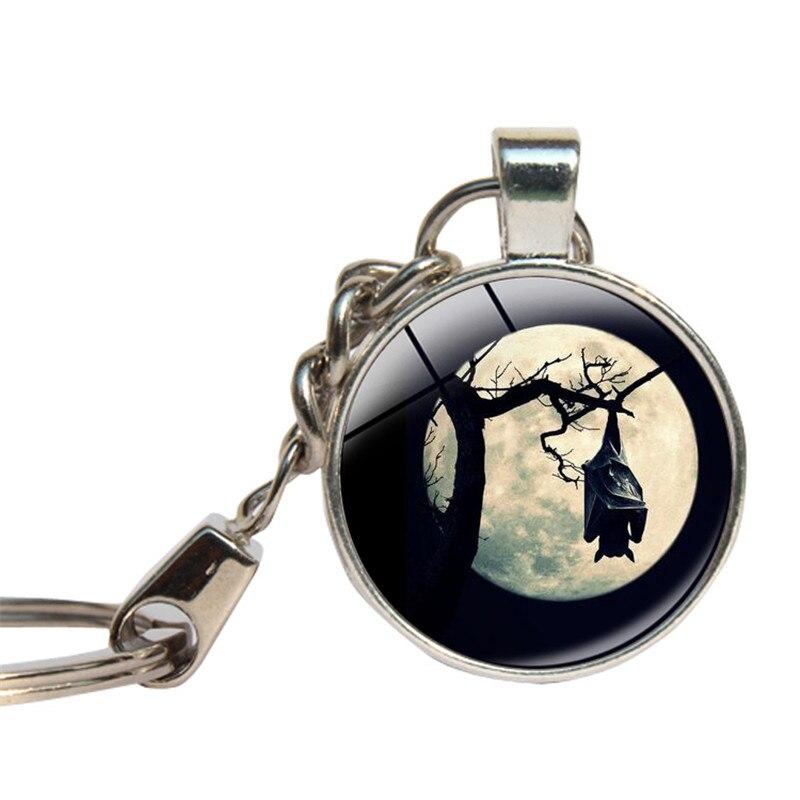 Летучая мышь луна брелок Стекло кабошон темно-ночь вампиров Брелоки ювелирные Стекло Купол Хэллоуин Бэтмен кольцо для ключей изделия Handmande ...