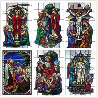 Decorative self adhesive/static cling frosted stained continental window film can do custom size Crucifixion of Jesus/Christ