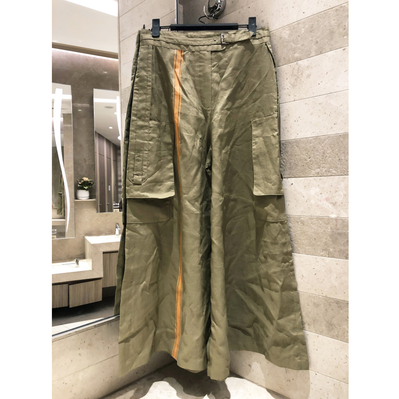 2019 summer new cotton ladies   wide     leg     pants   solid color casual waist zipper pocket trousers women loose   pants   high quality