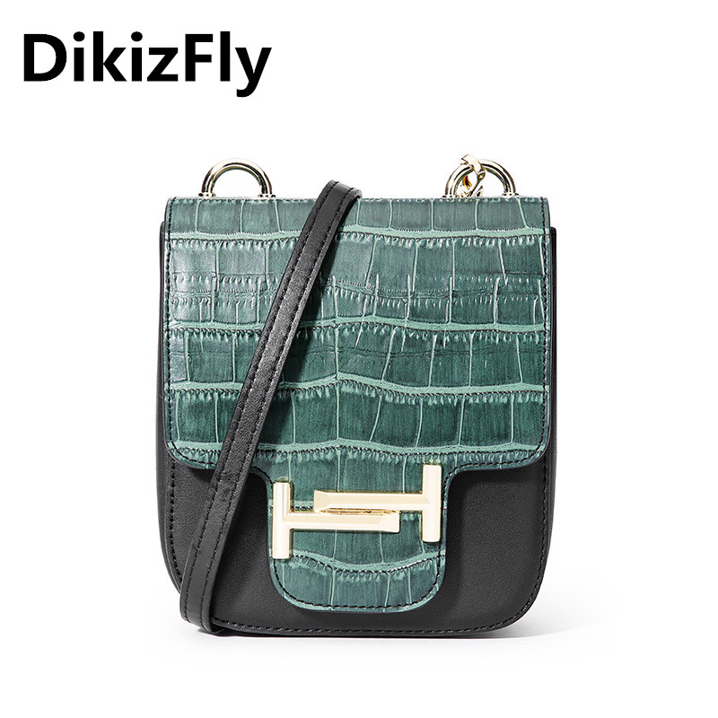 DikizFly Fashion Crocodile Mini Flap Bags Split Leather Patchwork Women Bags Messenger Bag Ladies Small Crossbody Handbags Girls nucelle women split leather messenger bags ladies fashion chain mini cross body bags female flap shoulder bags for phone nz5902