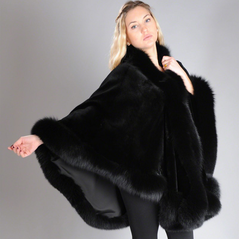 Image 4 - 2019 BFFUR Real Fur Fox Coat For Womens Natural Mink Fur Coat Ponchos Whole Skin Covered Capes Women Winter Fashion Slim ShawlReal Fur   -