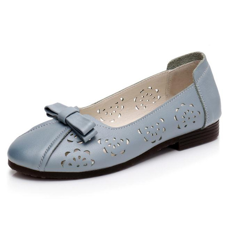 2018 summer Genuine Leather flat hollow Women Shoe Large size 41-43 Slip-On bowknots Flats Fashion Mom Shoes genuine leather four seasons shoes comfortable non slip flats women shoes large size 41 43 mom elderly shoes obuv zapatos mujer