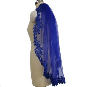 Image 3 - 100% Real Photo Blue Sequins Lace Edge Short Wedding Veil Gorgeous Single Layer Bridal Veil with Comb Velos de Novia