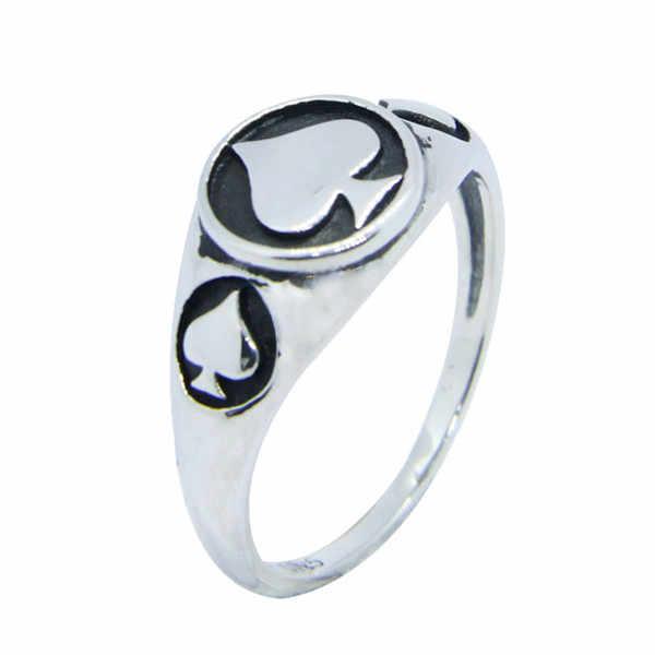 ผู้หญิง 925 แหวนเงิน Mini Cool Ace Spades แหวนคุณภาพสุภาพสตรี Biker แหวน