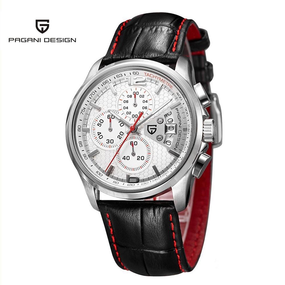 Prix pour Marque PAGANI CONCEPTION étanche 30 M véritable bracelet en cuir boîtier en acier inoxydable de mode chronographe sport montres