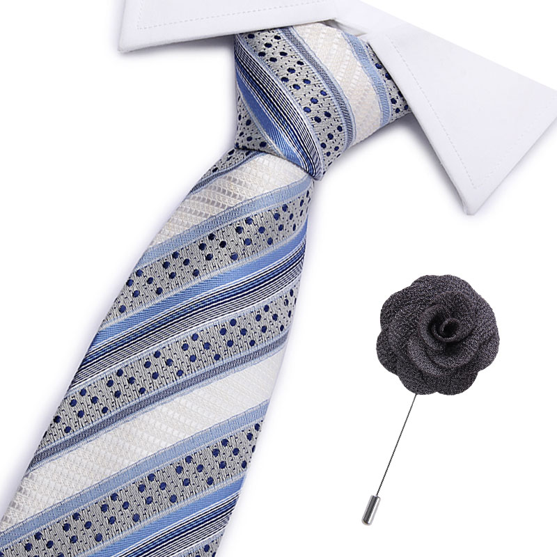 Grey Plaids/&Checks Mens Tie Necktie Silk Jacquard Woven Set Wedding Business