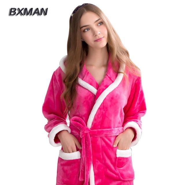 BXMAN Brand New Winter Robe Women Polyester Womens Hooded Flannel Bathrobes  Winter Casual Bathrobes Women Homewear Robes 224 167ddda65