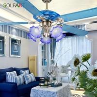 Потолочный вентилятор современный светодиодный Европейский потолочных вентиляторов 52 дюймов синий Стекло Абажур декоративные веера
