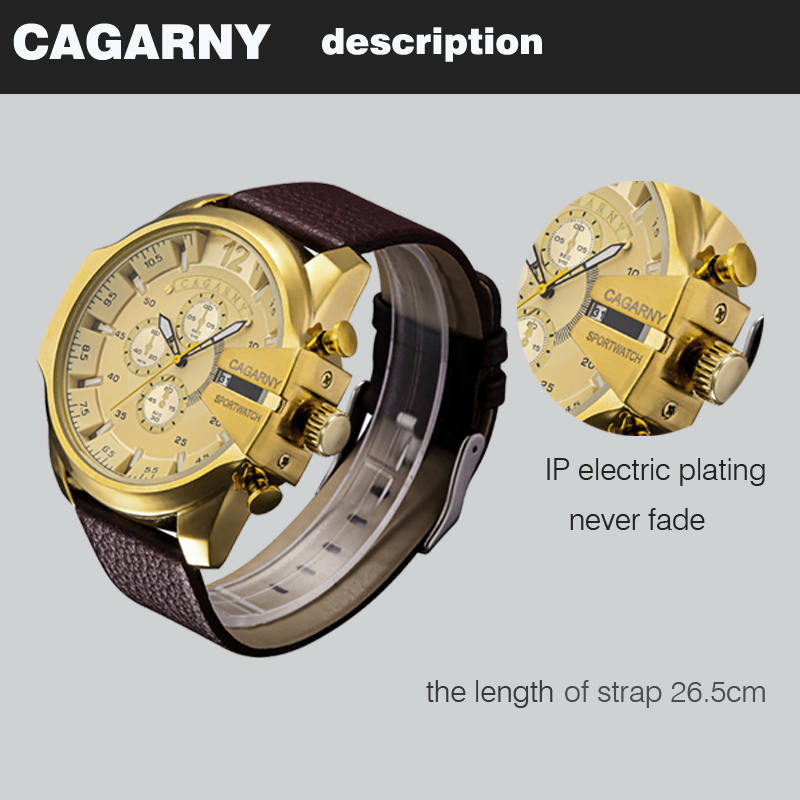cagarny dz style quartz watch men golden mens watches (3)