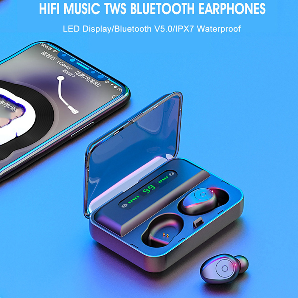 Hangrui F9 Wireless Earphone With Led Display Bluetooth Earphone Single or double TWS 5.0 With 1200mAh Charging Box Phone Holder