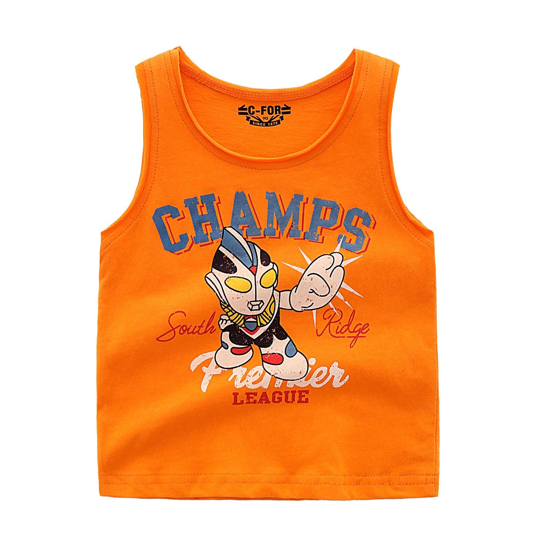 Summer Baby boy Sleeveless Tee O Neck Kids Boy T shirt Sleeveless Vest Cotton Top Cartoon Ultraman T Shirt in T Shirts from Mother Kids