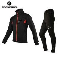Rockbros Winter Cycling Jackets Sets Fleece Thermal Waterproof MTB Bike Jacket Road Bicycle Jersey Clothing Men