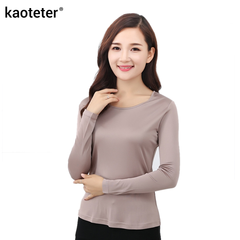 100 Pure Silk 2016 New Autumn Basic Women Long Sleeve Casual Tees T Shirt Tops Female