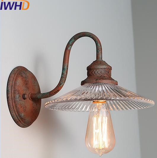 IWHD Glass Sconce Wall Light Fixtures Iron Retro Vintage Loft Industrial Wall Lamp Living Room Bedroom Home Lighting Stairs