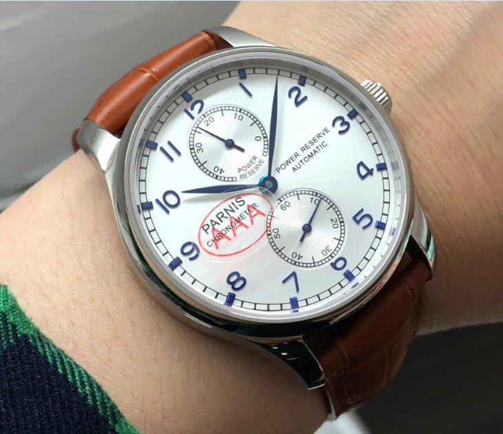 Sapphire crystal 43mm PARNIS power reserve Automatic Self-Wind Mechanical movement silver-white dial mens watch pa91-p8Sapphire crystal 43mm PARNIS power reserve Automatic Self-Wind Mechanical movement silver-white dial mens watch pa91-p8
