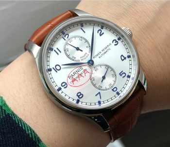 Sapphire crystal 43mm PARNIS power reserve Automatic Self-Wind Mechanical movement silver-white dial men's watch pa91-p8 - DISCOUNT ITEM  49% OFF All Category