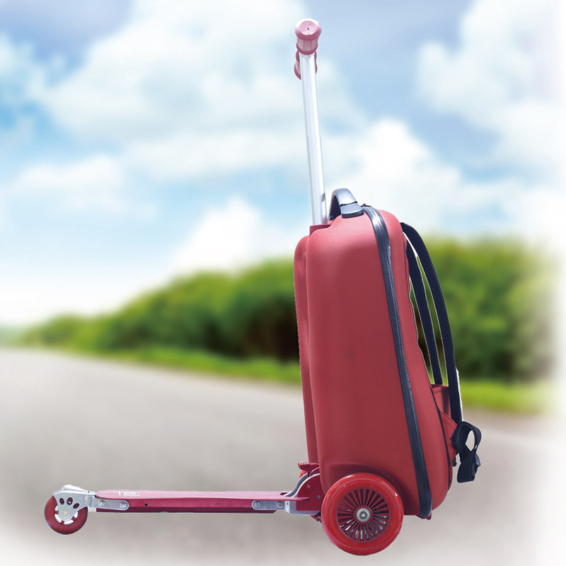 BeaSumore EVA Scooter Rolling Luggage Women Red Trolley 20' Boarding Box Men Carry On Travel Bag Student Suitcase Wheels Trunk