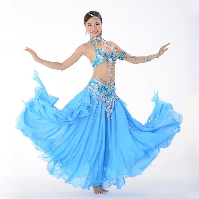 e56397e2e Performance de palco Roupas de Dança Do Ventre Oriental 3-Terno pedaço  Talão Bra