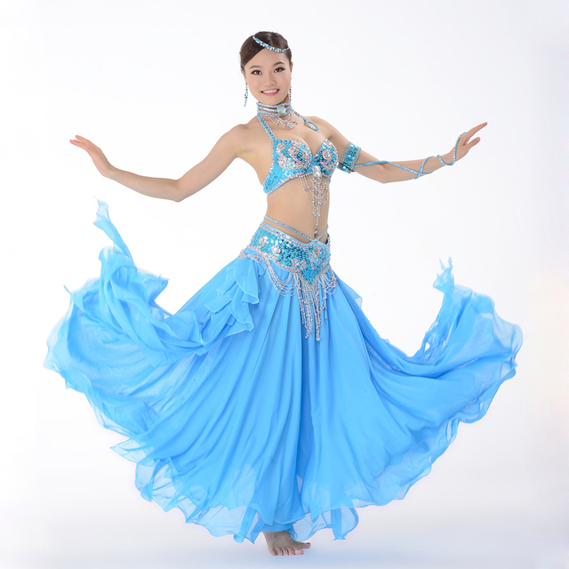 6a16ae0cff Stage Performance Oriental Belly Dancing Clothes 3-piece Suit Bead Bra belt    Skirt Belly Dance Costume Set 32-34b c 36b c 38b c