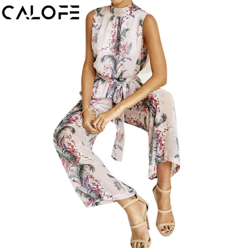CALOFE 2018 Summer Women Playsuit Bodycon Sexy Chiffon Floral Printed Backless Bandage Wide Leg Pants Sleeveless Jumpsuit Body