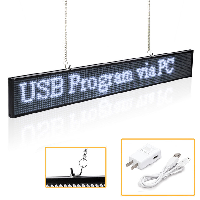 P5 SMD Led Sign Panel Module 19.6 x 4 Inch Scrolling Message LED Display Board with Metal Chain for Business Open Home Salon