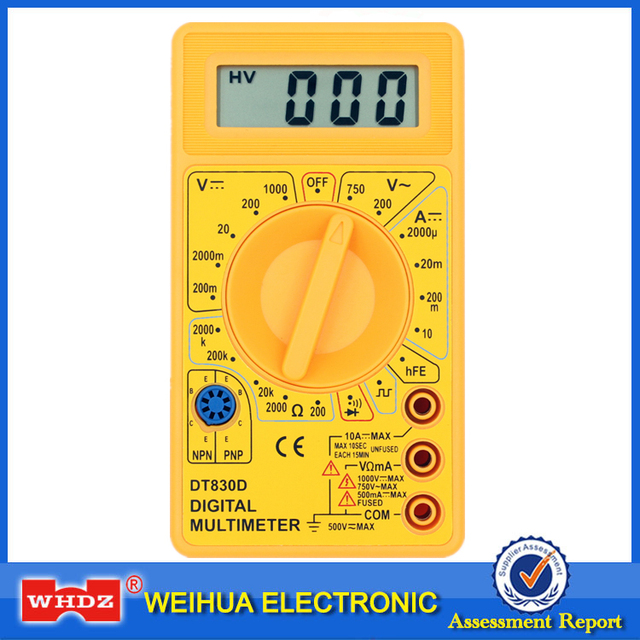 WHDZ DT-830D Mini Digital Multimeter with Buzzer Overload protection Voltage Ampere Ohm Meter Test Probe DC AC LCD Yellow