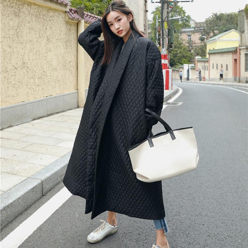 LANMREM New Fashion Black Oversize Lapel Back Vent Button Winter Jacket 18 Female's Long Cotton Coat Jaqueta Feminina WTH11 10