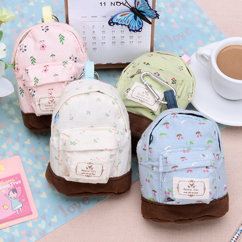 Flower Schoolbags Model Coin Purse / Mini Creative Canvas Storage Bag/small Pouch / Multifunction Wallets