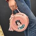 2017 Linda Sacos Lolita Menina Impressão Borla Ombro Das Mulheres de Design saco de PU de Couro Sacos Crossbody Sacola Pequena Circular Engraçado Q191