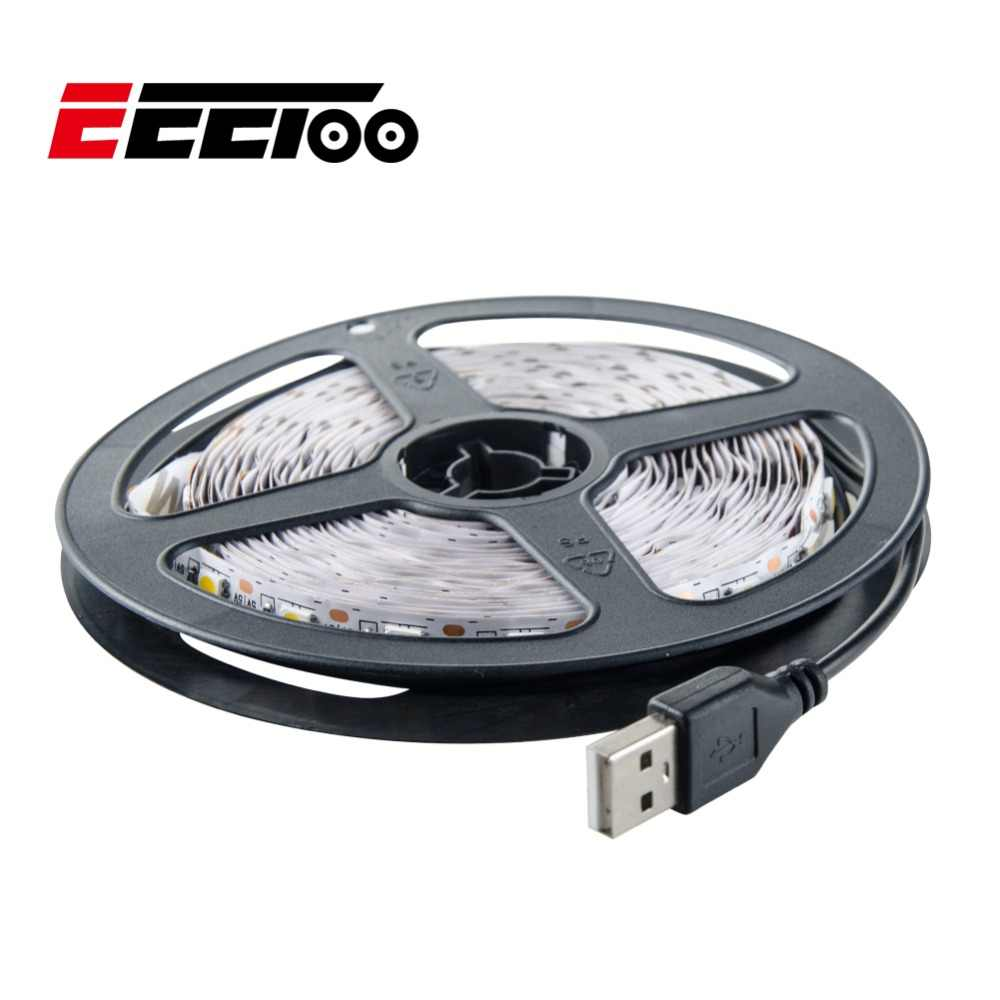 Eeetoo USB LED Strip Light 5050 5V LED Strip Pita Fleksibel Lampu Hangat Putih Cahaya Putih LED Lampu Latar LCD TV 0.5 M 1 M 2 M 3 M 4 M 5 M