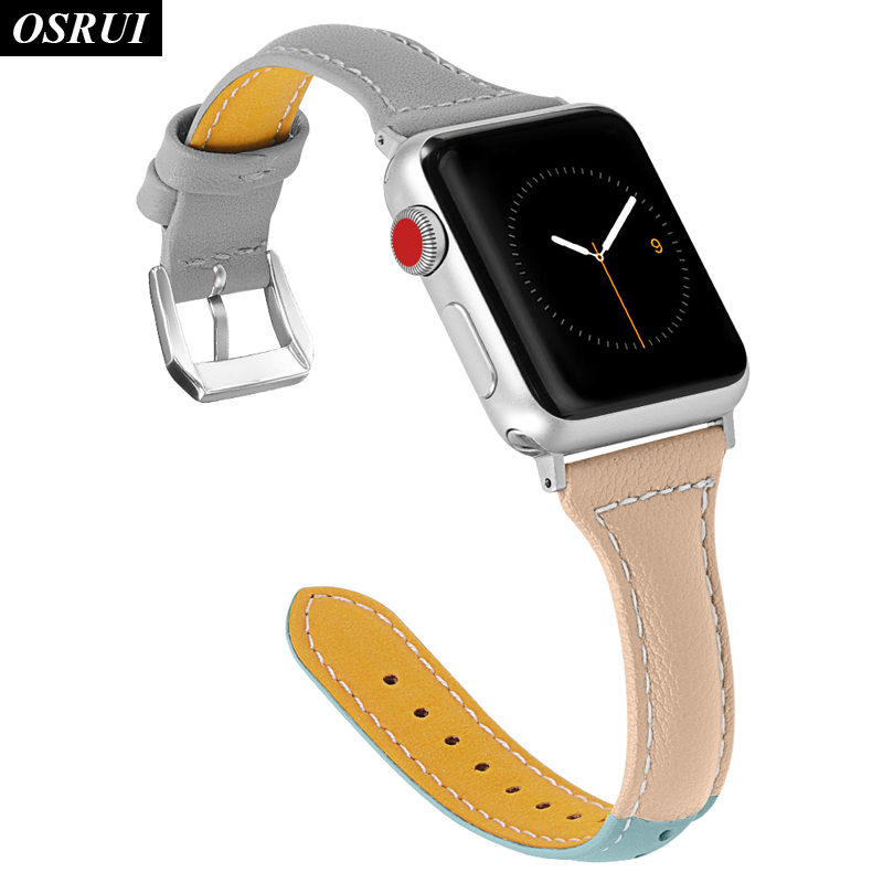 leather strap for Apple watch band 4 44mm 40mm iwatch 3 2 1 correa 42mm 38mm fashion bracelet belt for apple watch Accessories in Watchbands from Watches