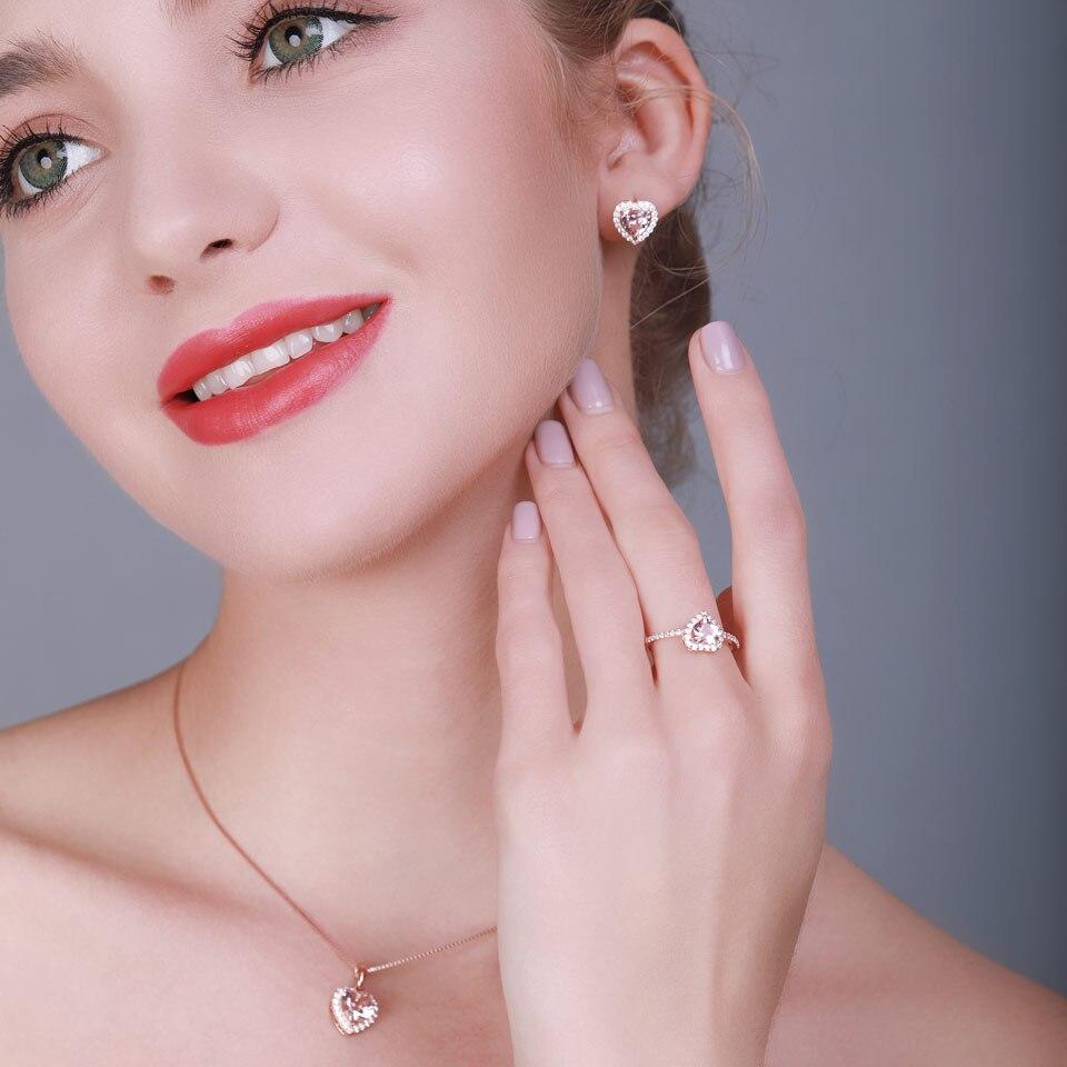 Ensemble de bijoux en argent Sterling 925 UMCHO pour femmes romantique coeur Morganite pendentif boucles d'oreilles fête saint valentin bijoux fins - 4