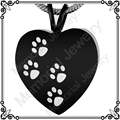 MJD2479 Cremation Urn Necklace 316L Stainless Steel Engraved Pet Paw Prints Heart Ash Pendant  Memorial Jewelry