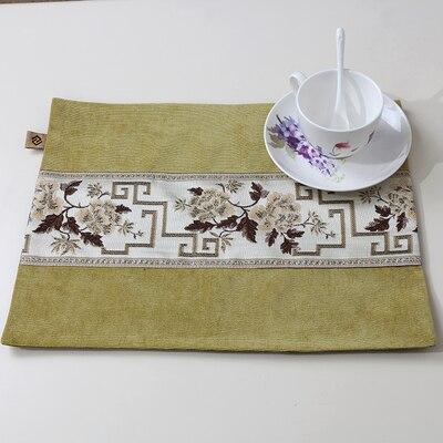 Лоскутный с вышивкой кружевное китайские столовые приборы стол колодки Статуэтка винтажный Европейский стиль бархатная ткань Настольный коврик - Цвет: Зеленый