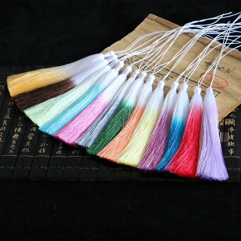 12pcs/lot Gradient color Silk fringe tassel trim decorative sewing bang pendant tassels  ...