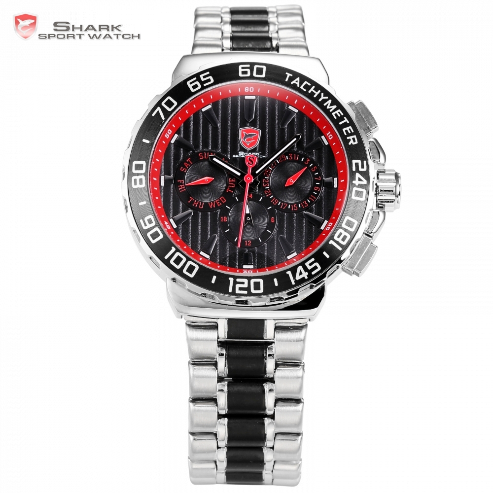 Blacknose Shark Sport Watch Red Silver Stainless Steel Band Auto Date Day Hidden Button Waterproof Men's Quartz Watches / SH382